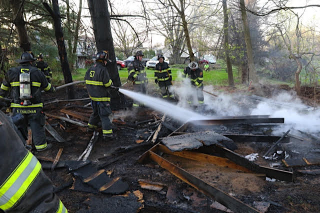 Shed and Brush Fire in Providence Township