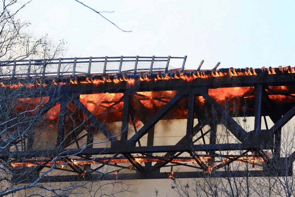 Historic Trestle Bridge Fire on the Enola Low Grade Rail Trail