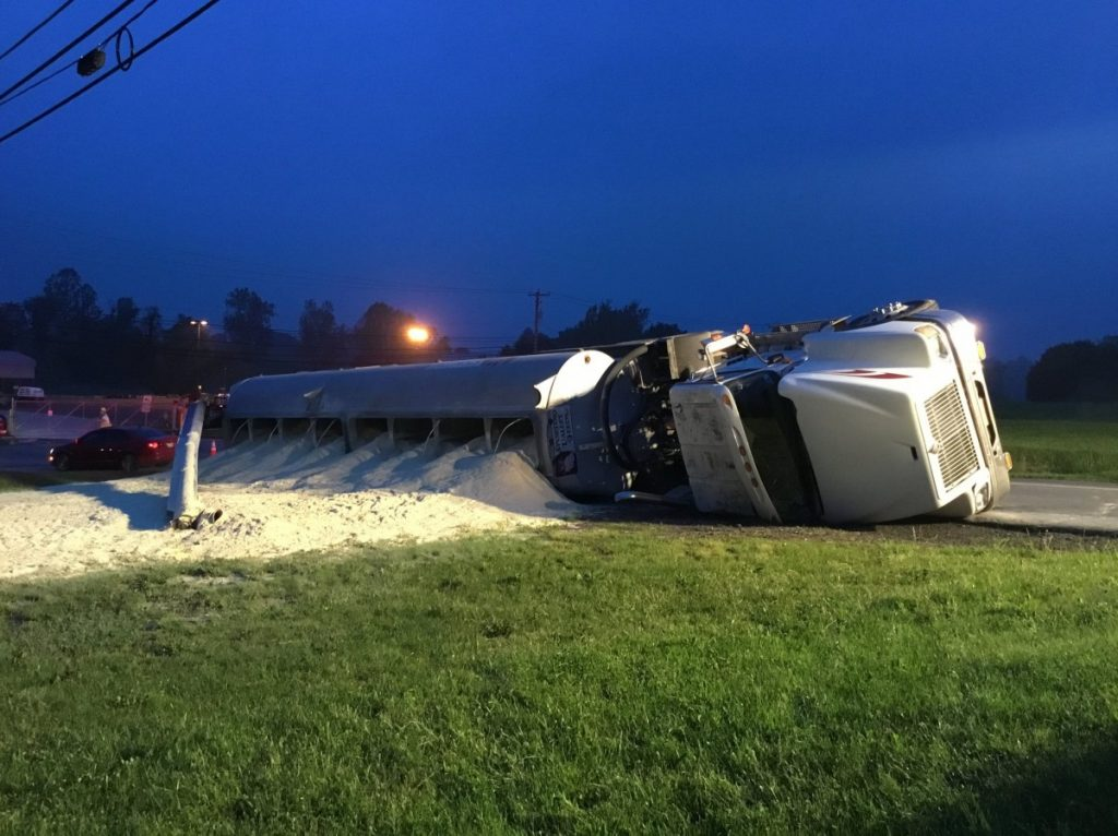 Tractor Trailer Overturned in Providence Township