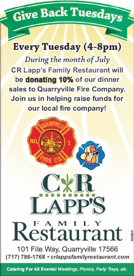 Support The QFD at C.R. Lapp's Family Restaurant